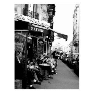 パリのLe Refuge Cafeの白黒写真 ポストカード
