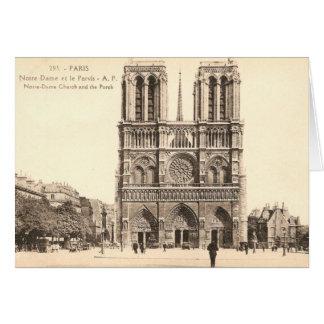 パリのNotre Dameのヴィンテージの郵便はがき カード