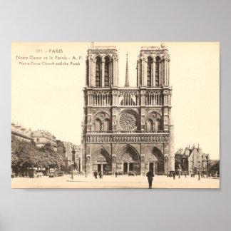 パリのNotre Dameのヴィンテージの郵便はがき ポスター