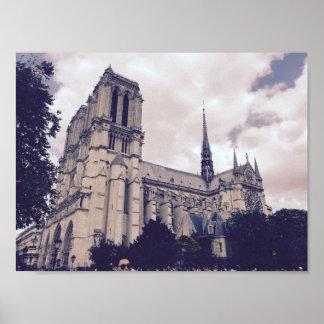 パリのNotre Dame ポスター