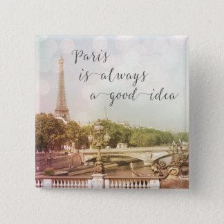 パリはよいアイディア|正方形ボタン常にです 5.1CM 正方形バッジ