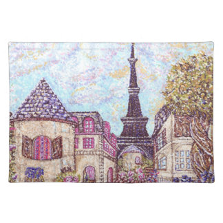 パリはエッフェル塔Ameriとの点描を元気を与えました ランチョンマット