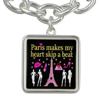 パリは私のハートのスキップにビートをします チャームブレスレット