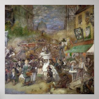 パリを描写する装飾的なパネル ポスター