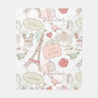 パリエッフェル塔のお洒落なピンク フリースブランケット