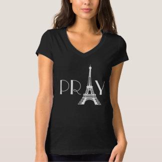 パリエッフェル塔のために祈って下さい Tシャツ