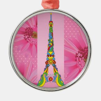 パリエッフェル塔のエレガントでポップ・アートのでスタイリッシュなシルエット メタルオーナメント