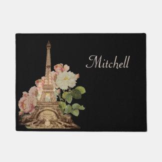 パリエッフェル塔のピンクのバラの玄関マット ドアマット