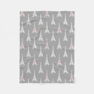 パリエッフェル塔のピンクの灰色のフリースブランケット フリースブランケット