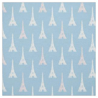 パリエッフェル塔のピンクの青の生地 ファブリック