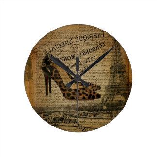 パリエッフェル塔のファッショニスタガーリーな靴 ラウンド壁時計