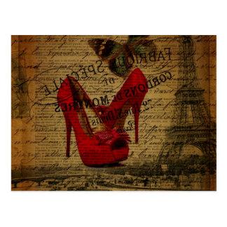 パリエッフェル塔のファッショニスタ赤い小剣 ポストカード