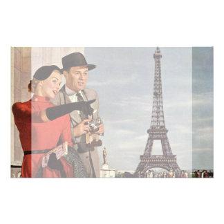 パリエッフェル塔のヴィンテージの観光客旅行 便箋