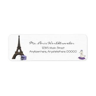 パリエッフェル塔の宛名ラベルの紫色の夕べ ラベル