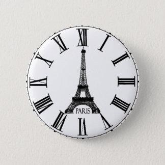 パリエッフェル塔の時計のフランス語 缶バッジ