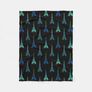 パリエッフェル塔の暗藍色のフリースブランケット フリースブランケット