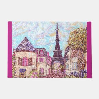 パリエッフェル塔の点描の景色のドア・マット ドアマット