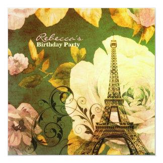 パリエッフェル塔の花のヴィンテージの誕生会 カード