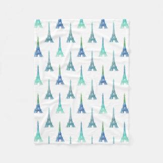 パリエッフェル塔の青緑のフリースブランケット フリースブランケット