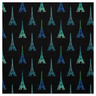パリエッフェル塔の黒の青緑の生地 ファブリック