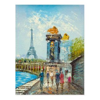 パリエッフェル塔場面の絵画 ポストカード