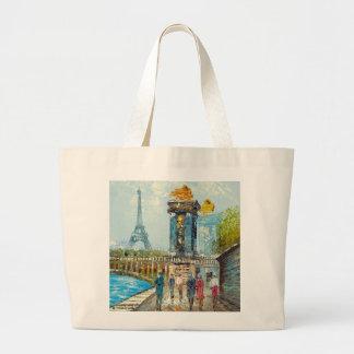 パリエッフェル塔場面の絵画 ラージトートバッグ