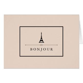 パリシックなシャンペンのピンクおよびエッフェル塔Bonjour カード