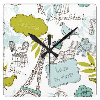 パリパターンの愛 スクエア壁時計