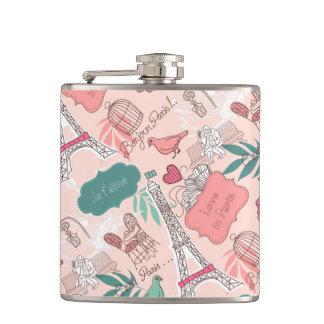 パリパターンピンクの愛 フラスク
