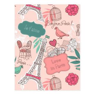 パリパターンピンクの愛 ポストカード