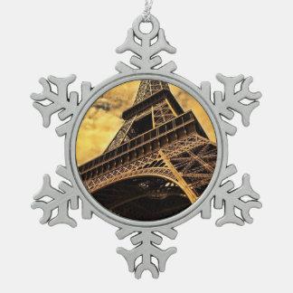 パリフランスのエッフェル塔 スノーフレークピューターオーナメント