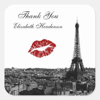 パリフランスのスカイラインのキス#1 BWのキスのメッセージカード スクエアシール
