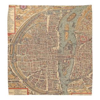 パリフランスの初期ので旧式な地図 バンダナ
