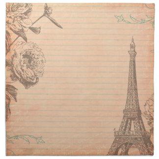 パリフランスエッフェル塔のぼろぼろのシックで古いナプキン ナプキンクロス