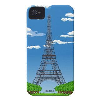 パリフランスエッフェル塔のブラックベリーのはっきりしたな箱 Case-Mate iPhone 4 ケース