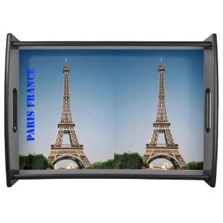 パリフランスエッフェル塔の大きいトレイの黒 トレー