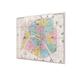 パリフランス(1863年)のヴィンテージの地図 キャンバスプリント