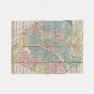 パリフランス(1867年)のヴィンテージの地図 フリースブランケット