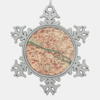 パリフランス(1910年)のヴィンテージの地図 スノーフレークピューターオーナメント