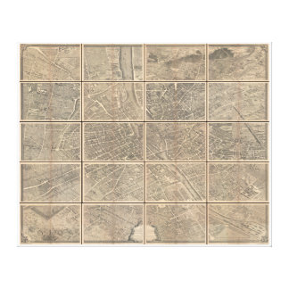パリフランスBretezの1739年のTurgotの眺めそして地図 キャンバスプリント