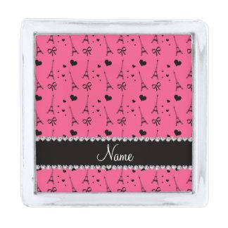 パリ名前入りな一流のピンクのエッフェル塔 銀色 ラペルピン