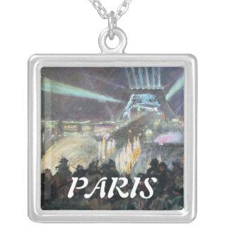 パリ夜フレッドのお金の絵画 シルバープレートネックレス