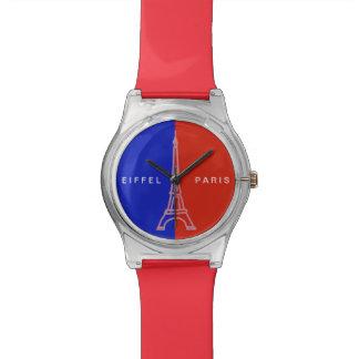 パリ赤く青いフランス 腕時計