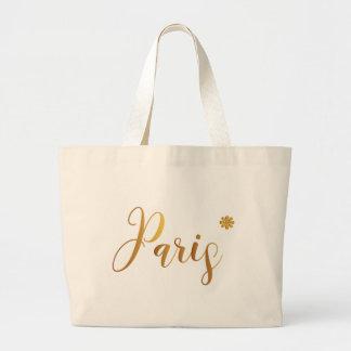 パリ金ゴールドと花 ラージトートバッグ