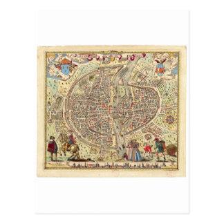 パリ1576年の地図 ポストカード