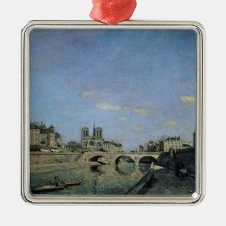 パリ1864年のセーヌ河そしてNotre Dame メタルオーナメント