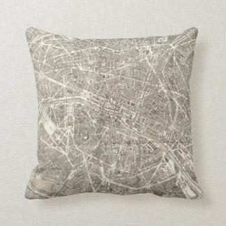 パリ|のヴィンテージの装飾の旧式な地図 クッション
