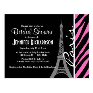パリ; ピンク及び黒いシマウマのプリント ポストカード
