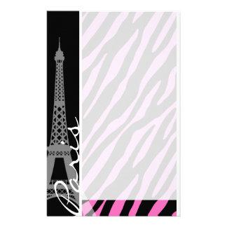 パリ; ピンク及び黒いシマウマのプリント 便箋