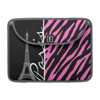 パリ; ピンク及び黒いシマウマのプリント MacBook PROスリーブ